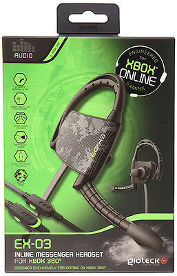 New Gioteck EX-03 Wired Headset Xbox 360 Black Flexible Earhook and Microphone