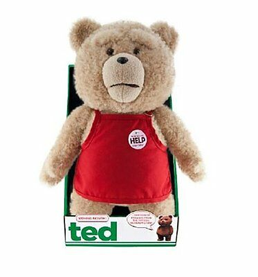 """Official New 16"""" Ted 2 Red Apron Moving Explicit Talking Plush Bear R-Rated"""