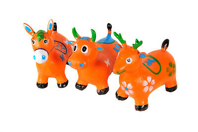 Kids Animal Space Hopper Inflatable Space Bouncy Garden Cow Horse Deer Children