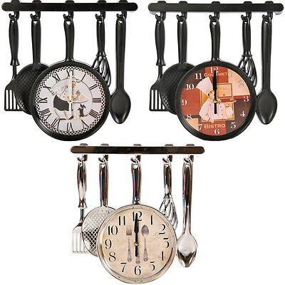 Kitchen Spoon Wall Clock Cutlery Fork Spoon Modern Design Sliver Black