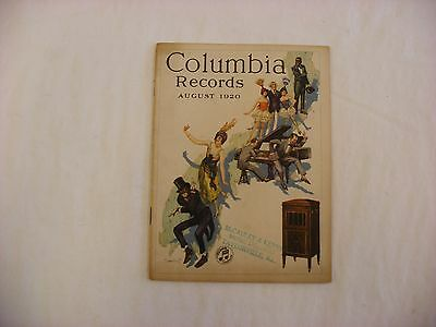 Original Columbia Graphophone Phonograph Record Catalog - August, 1920