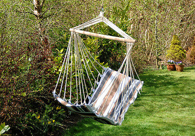 Hanging Swing Seat Hammock Chair Garden Camping Travel Cover Stand Swing Stripe