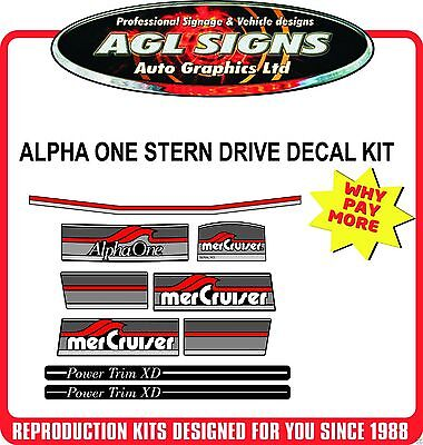 1984 - 1991 Mercury Alpha One Outdrive Decal Kit   Mercruiser with power trim.