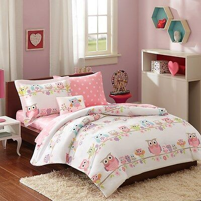 Pink, Blue & Purple Owl Girls Twin Single Comforter Set (6 Piece Bed In A Bag)