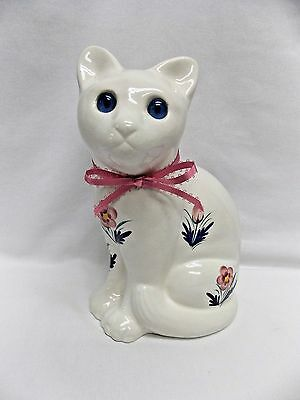 Sitting White Cat Porcelain Figurine Fired Flower Decals Blue Glass Eyes 9 Inch