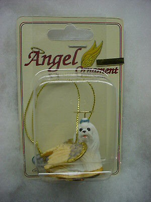 MALTESE dog ANGEL Ornament Figurine HAND PAINTED resin Statue Christmas.puppy