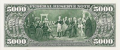Proof Print by the BEP - Back of 1918 $5000 Federal Reserve Note