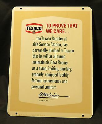 Vintage Texaco Restroom Sign Two-Sided Signed 6-74