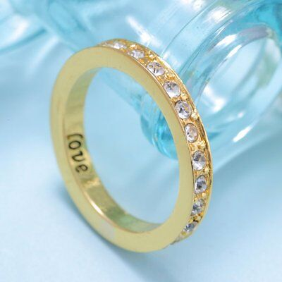 Love White Crystal Gem Charm Poesy Ring 18K Yellow Gold Filled Engraved Size 7