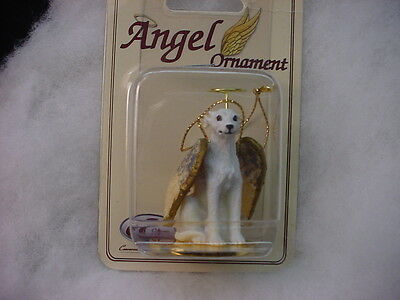 WHIPPET White dog ANGEL Ornament HAND PAINTED Resin Figurine NEW Christmas puppy