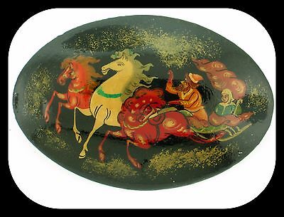 Vintage Made in Russia LACQUER Handpainted Troika Horses Sleigh BROOCH
