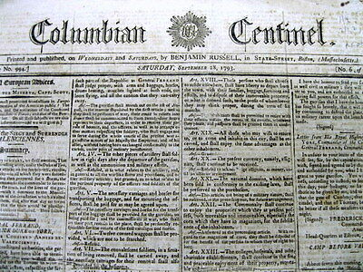 1793 newspaper French Revolution CHARLOTTE CORDAY assassinates JEAN PAUL MARAT