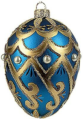 Faberge Inspired Blue Pearl Egg Polish Blown Glass Christmas or Easter Ornament