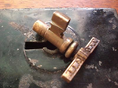 Antique Brass Thumb-Turn Twist Privacy Key Door Mortise Lock Adjustable Pat 1885