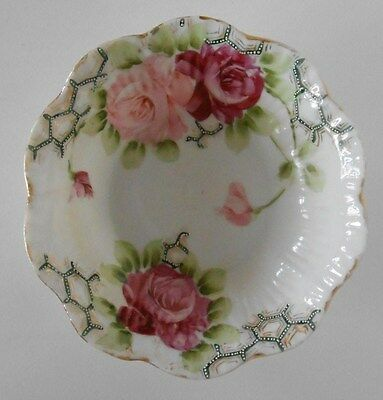 Nippon Oval Dish Hand Painted Blue With Flowers