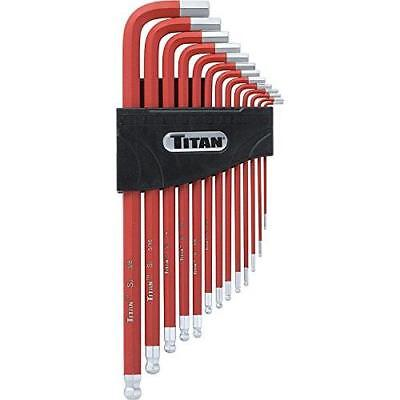 Titan Tools 12713 Extra-Long Arm Ball Tip SAE Hex Key Set, 13 Piece New