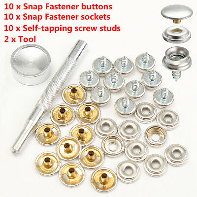 10 Set 3/8'' Stainless Steel Snap Button Screw Studs Canvas Tent Boat Covers