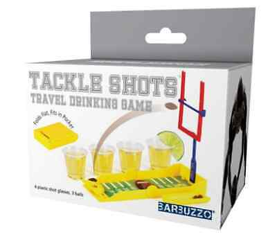 44859 Football Tackle Shots Travel Drinking Game With Shot Glasses Folds Flat