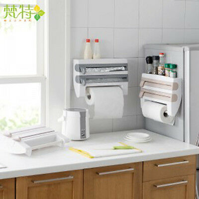 Kitchen Paper Holder Wall Mounted Bottle Storage Space Save Roll Rack