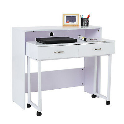 HOMCOM 2pc Computer Desk Set PC Rolling Table Space Saving Home Office