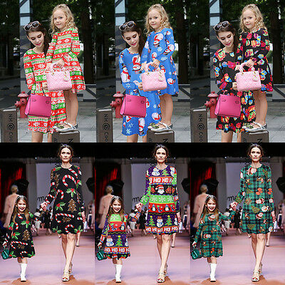 Womens/Girls Kids Xmas Santa Party Swing Flared Dress Christmas Long Sleeve Tops