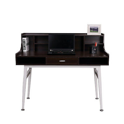 Wooden Computer Table Writing Desk Executive Home Office Table w/ Shelf Drawer