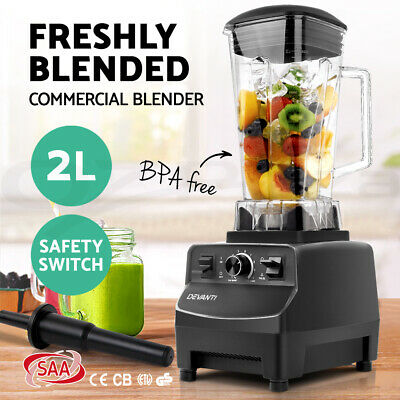 Devanti Commercial Blender Food Processor Mixer Juicer Smoothies Ice Crush Black