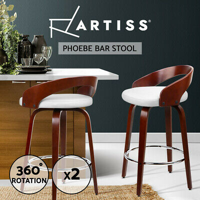 2x Wooden Bar Stool Swivel Barstool Kitchen Dining Chair Wood White 8565