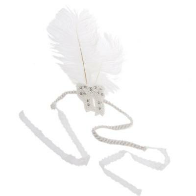 Women Party Vintage Costume Head Piece Hair Band Feather Pearl Lace Headband