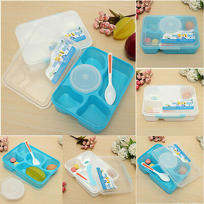 New Bento Lunch Box with Soup Spoon Food Container For Microwave Blue/White