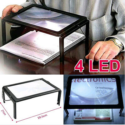Hot Large Hands Free Magnifying Glass With 4 Light LED Magnifier For Reading Aid