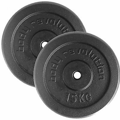 """15kg Pair Cast Iron Weight Plates Barbell 1"""" Dumbbell Weights Home Gym Fitness"""