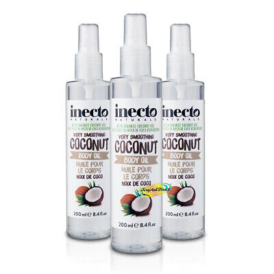 3x Inecto Coconut Smoothing Pure Organic Coconut Body Oil 200ml / 6.7 oz