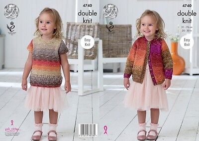 King Cole Girls Cardigan & Top Shine Knitting Pattern 4740  DK (KCP-4740)