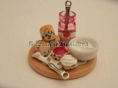 Dolls house food: Scone display with a jar of jam & cream -By Fran