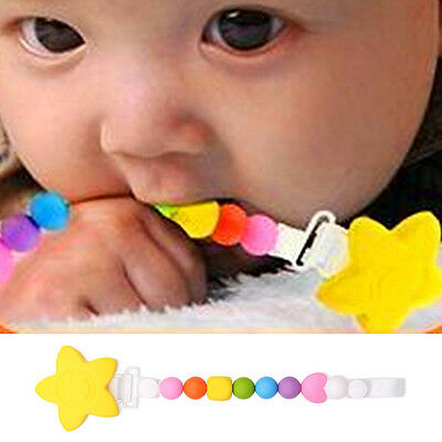 Baby Petal Teething Soother Pacifier Clip Beads Silicone Chew Nipple Strap Chain
