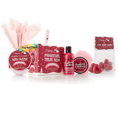 I Love Bath & Body Luxury Xmas Gift Set RASPBERRY Fizzer/Shower Cream/Butter