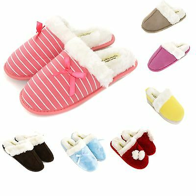 Ladies & Girls Premium Slippers Size 3 to 8 UK - WARM FUR LINED SLIP ON MULES