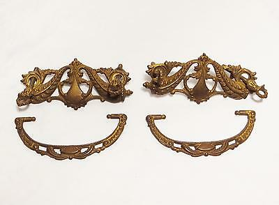 Pair Of Ornate Vintage Brass Drawer Pulls