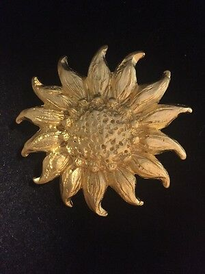 Signed M. JENT  large gold tone textured Sunflower BROOCH Pin