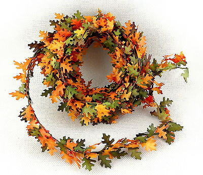 Dolls House Autumn Leaves Fall Garland Miniature Roping Decoration 18' long