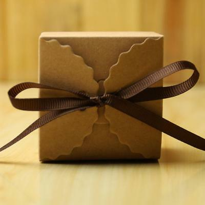 50pcs Vintage Kraft Paper Gift Candy Bags with Ribbon Wedding Favour Boxes