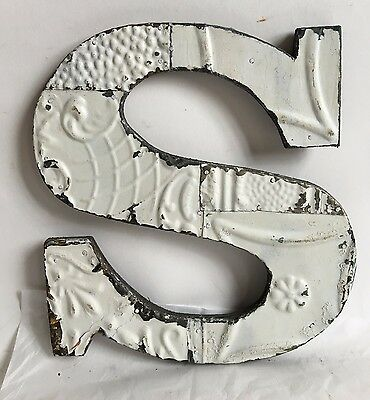 "Shabby Antique Tin Ceiling Wrapped 12"" Letter 'S' Patchwork Metal White A12"