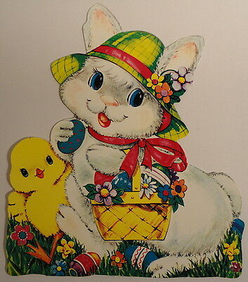 """Dennison Large 13"""" Vintage Die Cut Double Sided Adorable Easter Bunny Chick Eggs"""
