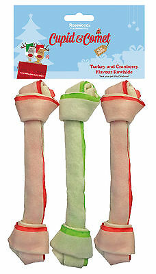 """Rosewood Christmas Xmas Turkey And Cranberry Rawhide Bones 8"""" Pack Of 3 Chews"""