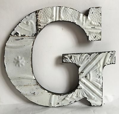 "Shabby Reclaimed Tin Ceiling Wrapped 12"" Letter 'G' Patchwork Metal White A18"
