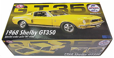 Acme 1/18 1968 Ford Mustang Shelby Gt350 Yellow Wt6066 Ltd Ed 1098 Pcs A1805201