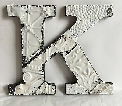 "Antique Tin Ceiling Wrapped 12"" Letter 'K' Patchwork Metal Mosaic White A19"