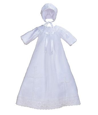 Baby Girls White Satin Long Sleeves Christening Gown Bonnet 0 3 6 9 12 Months