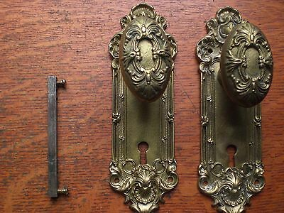 Antique Fancy Bronze French Nouveau Doorknobs & Doorplates c1885 Yale & Towne